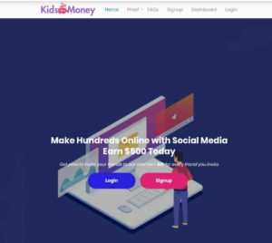 Kids have money landing page