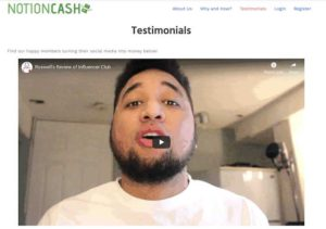 Notion Cash fake testimonial