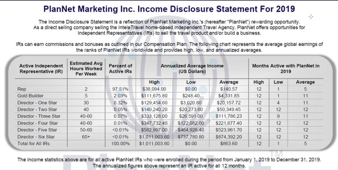 Plannet marketing income statement