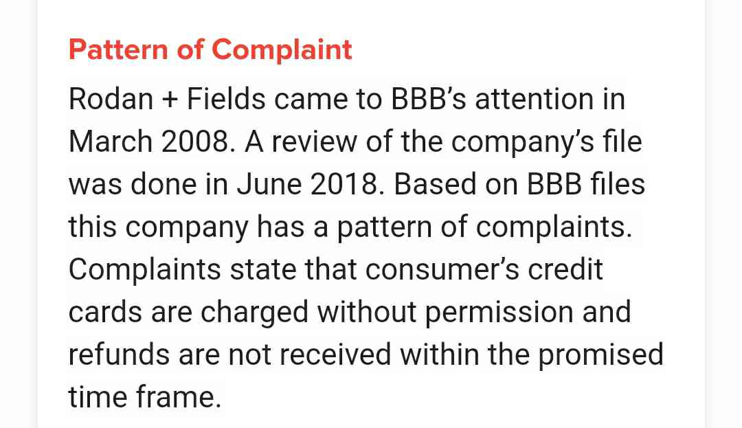 Rodan and fields comman complaint