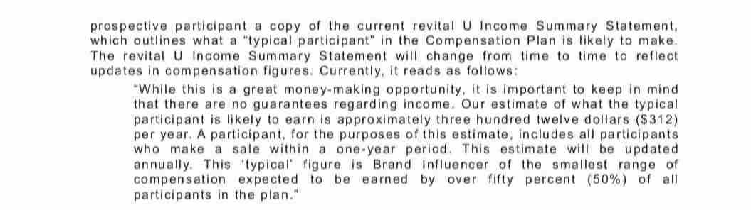 Revital U earnings statement