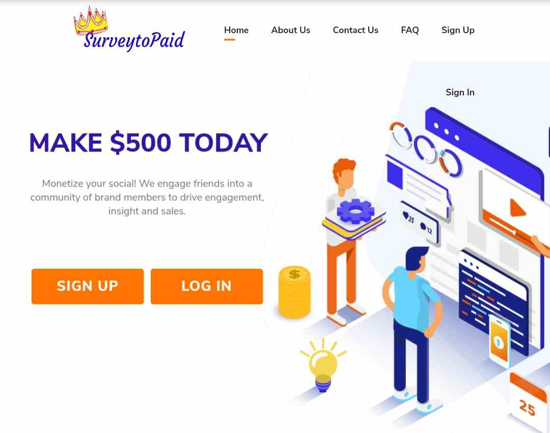SurveyToPaid.com front page